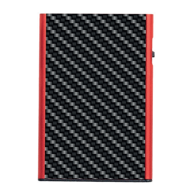 TRU VIRTU Carbon Fiber Click n Slide Wallet - Black/Red