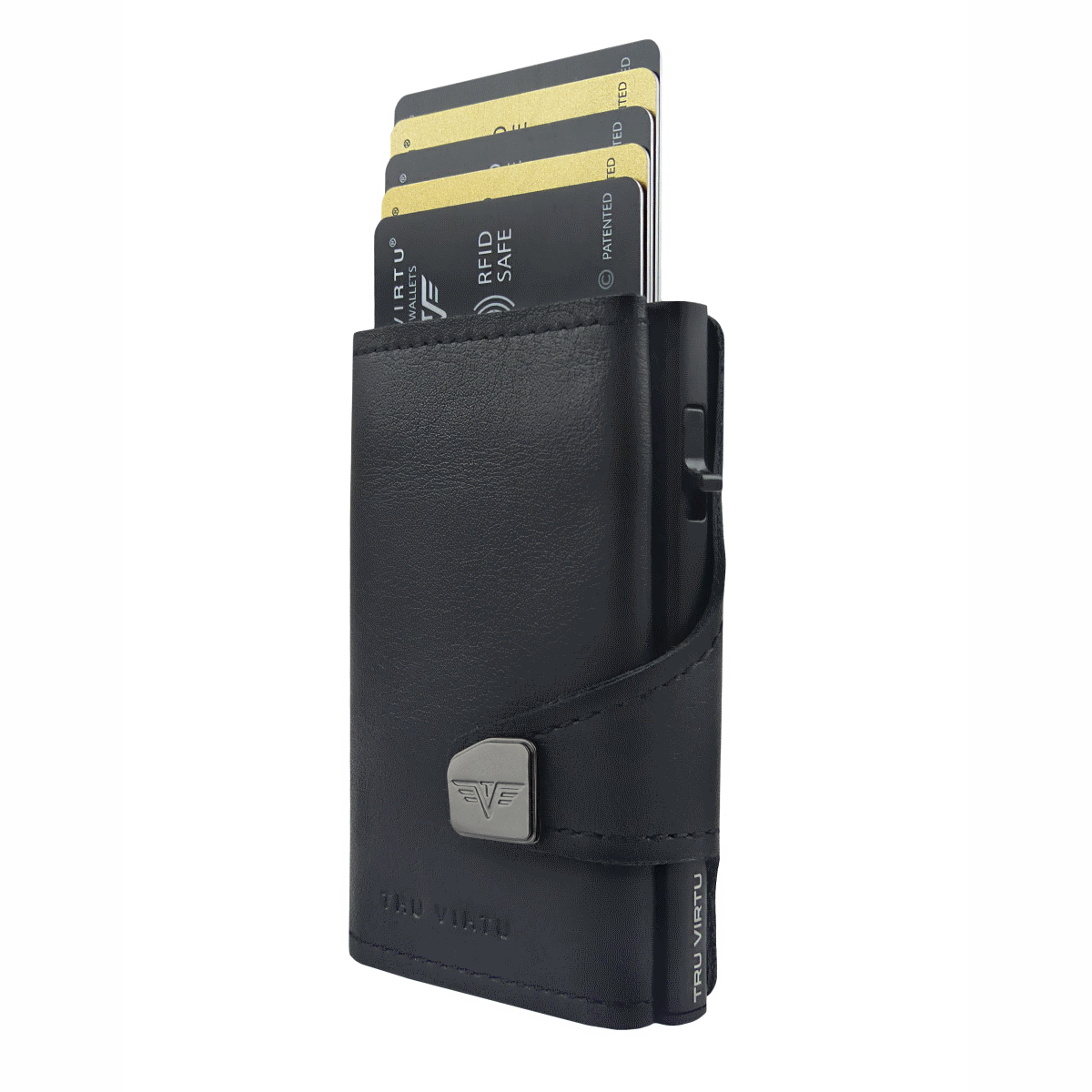 TRU VIRTU Click n Slide Wallet With Coin Pocket - Black