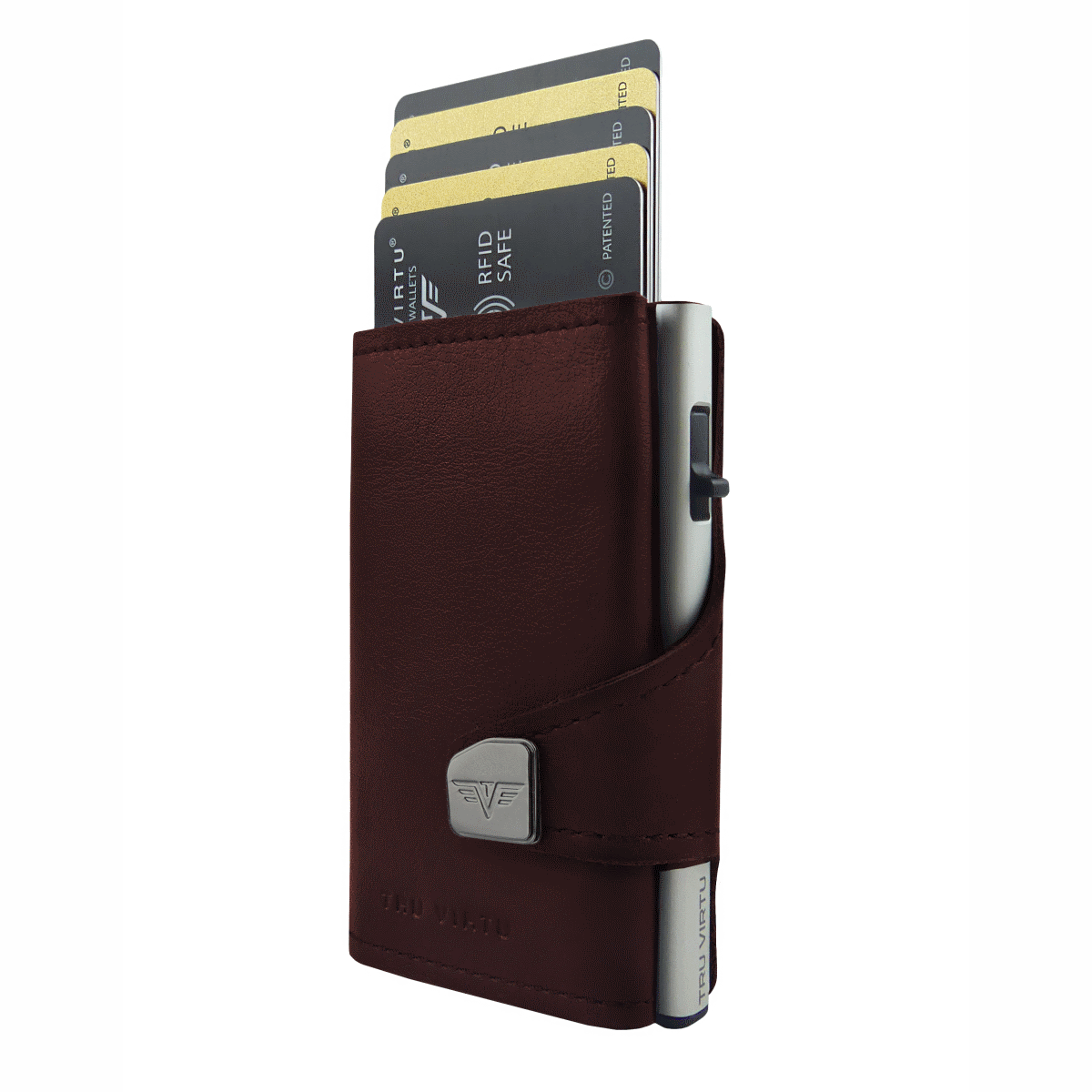 TRU VIRTU Click n Slide Wallet With Coin Pocket - Brown