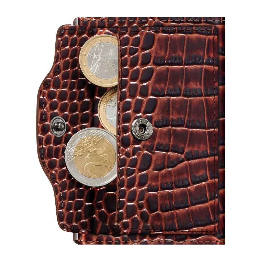 TRU VIRTU ארנק מינימלסטי מאלומיניום בשילוב עור עם תא למטבעות - חום תנין