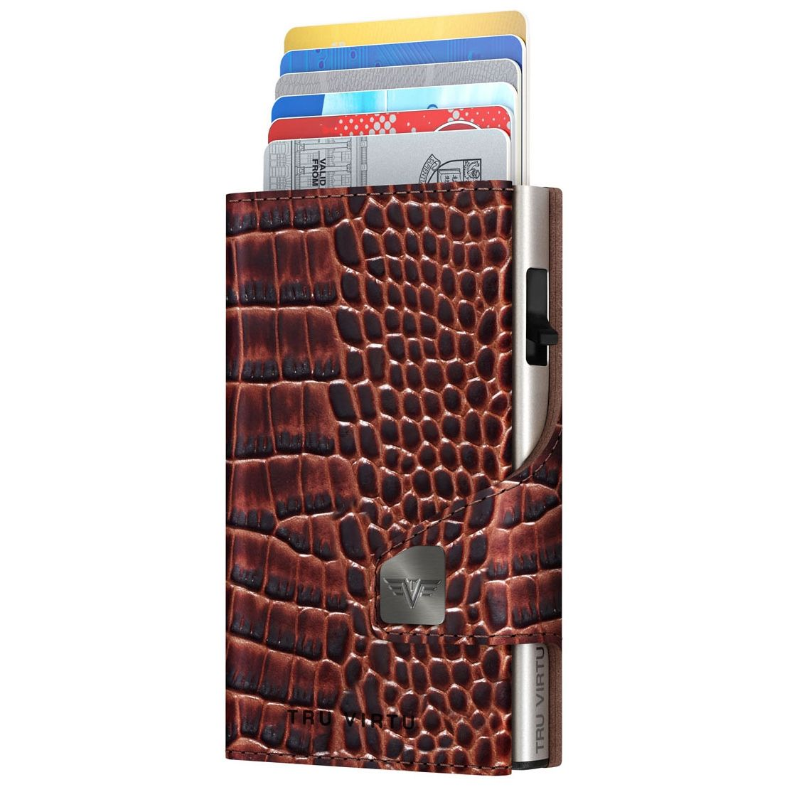 TRU VIRTU Click n Slide Wallet With Coin Pocket - Croco Brown