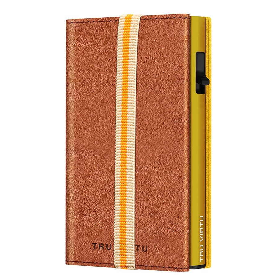 TRU VIRTU Click n Slide Sleek Wallet With Strap - Caramba Brown