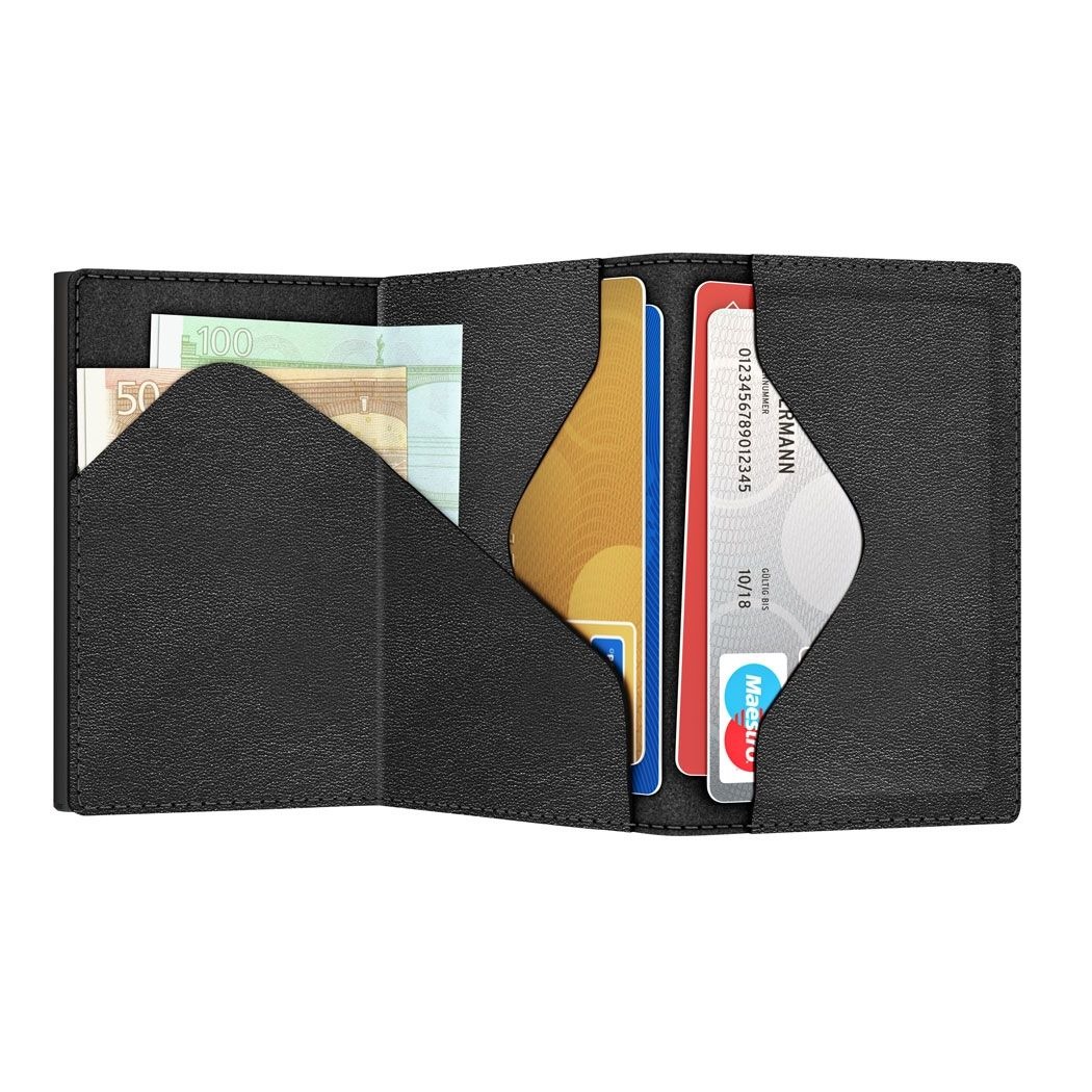 TRU VIRTU Click n Slide Sleek Wallet - Nappa Black
