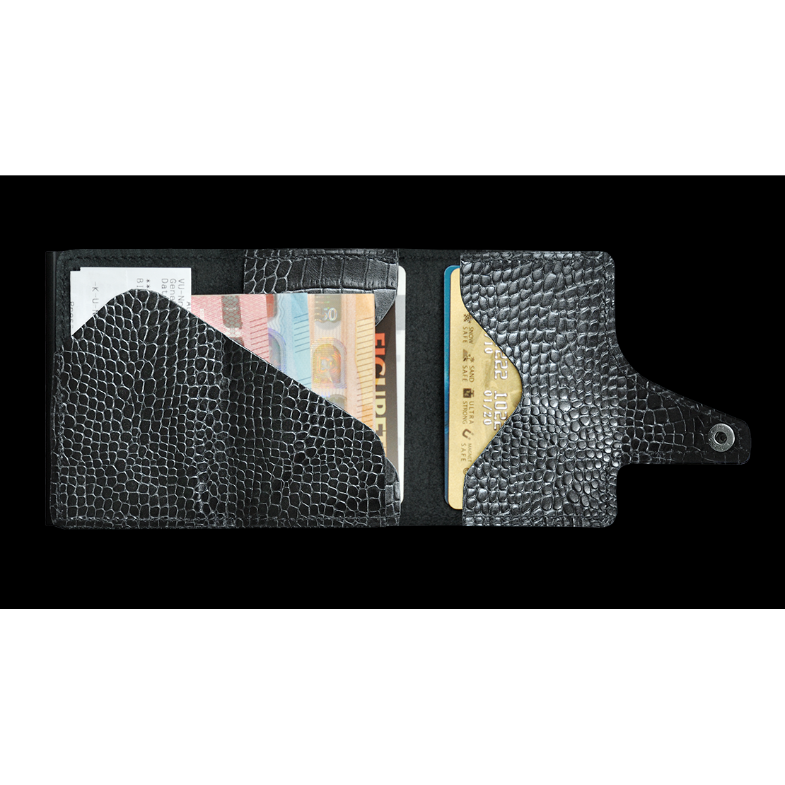 TRU VIRTU Click n Slide Wallet - Croco Black