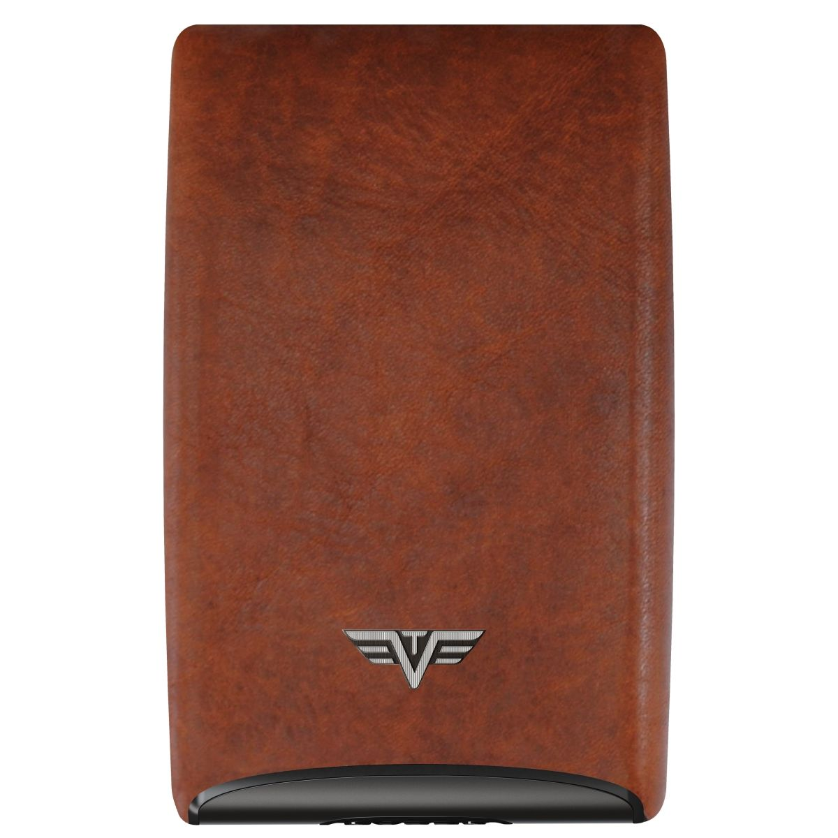 TRU VIRTU Aluminum Card Case Fan Leather Line - Natural Brown