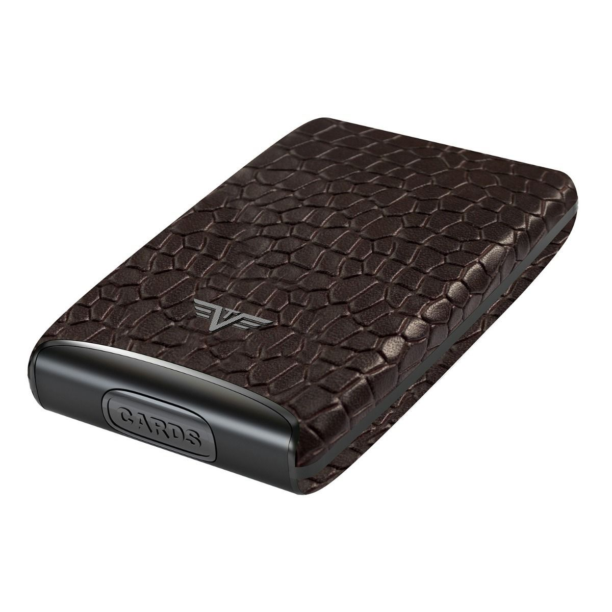 TRU VIRTU Aluminum Card Case Fan Leather Line - Corco Brown