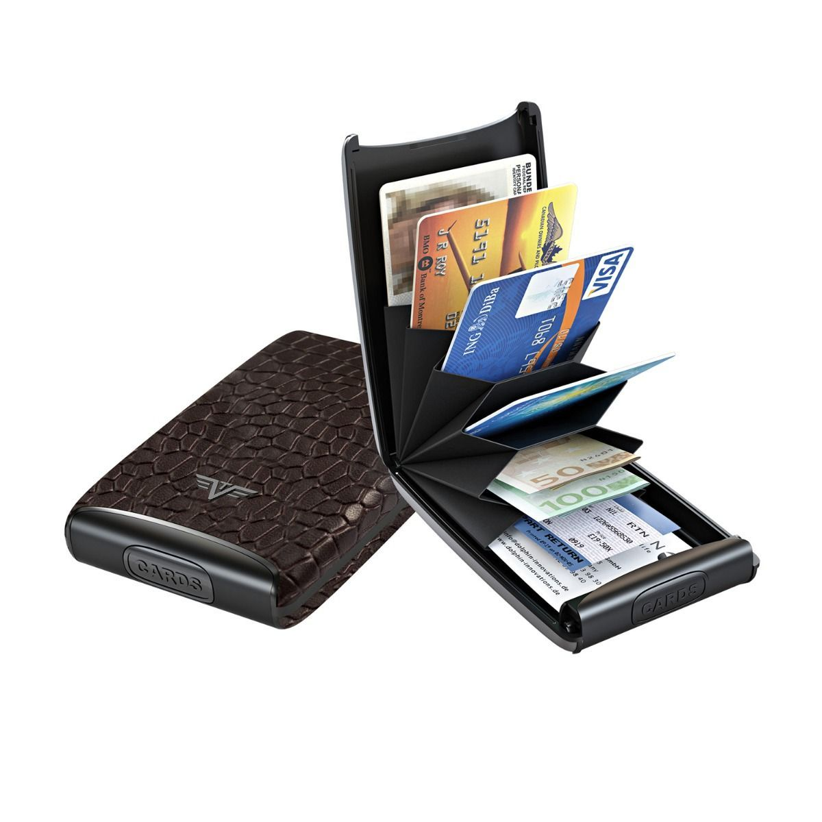TRU VIRTU Aluminum Card Case Fun Leather Line - Corco Brown