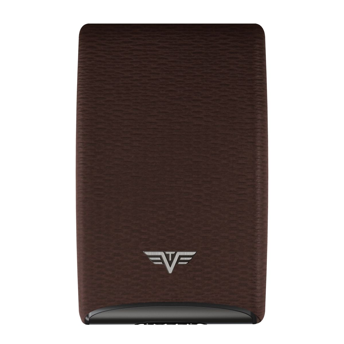 TRU VIRTU Aluminum Card Case Fan Leather Line - Dark Tabacco