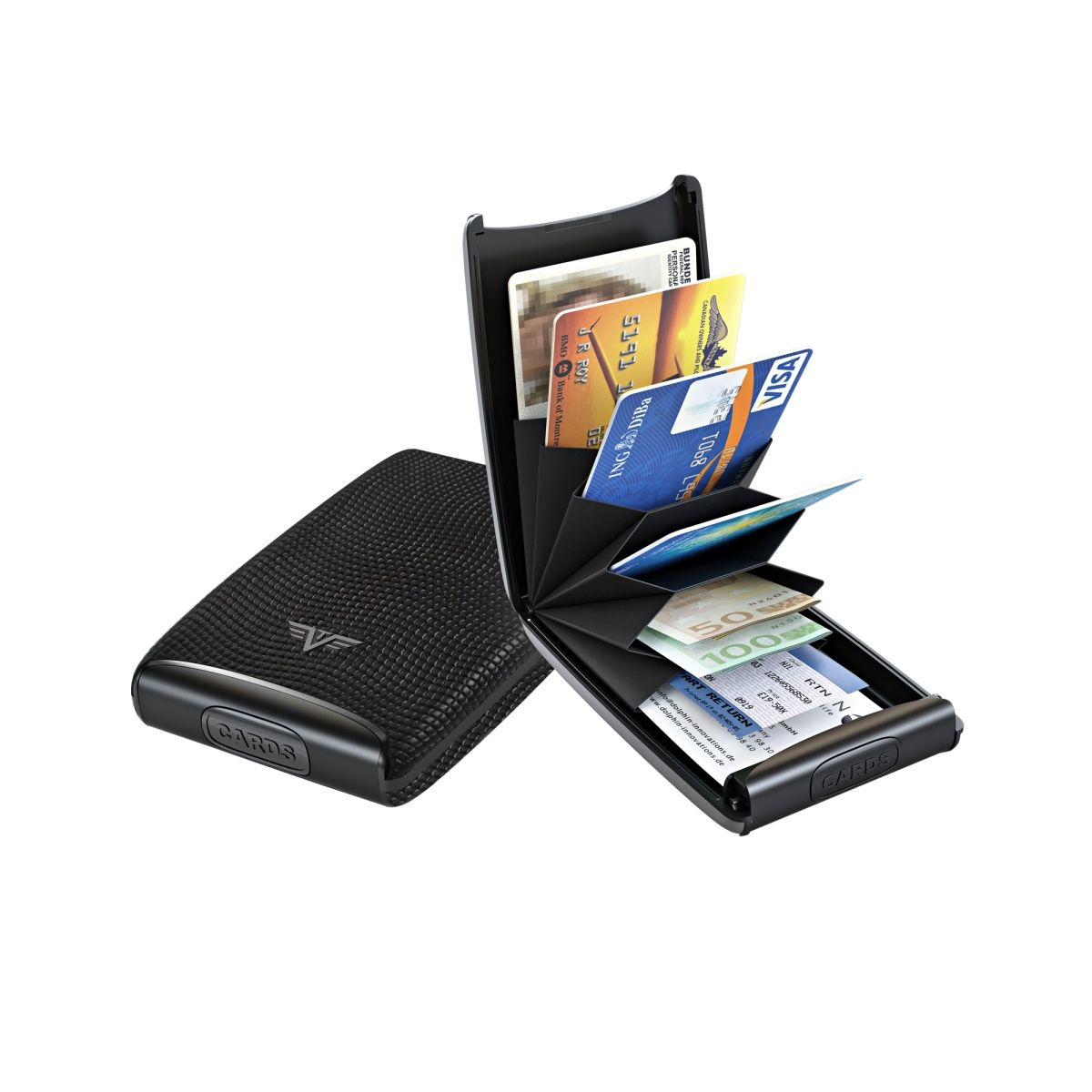 TRU VIRTU Aluminum Card Case Fan Leather Line - Lizard Black