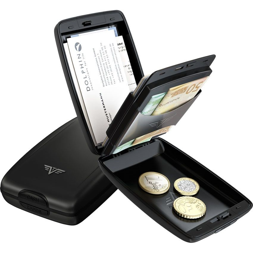 TRU VIRTU Aluminum Wallet Oyster Cash & Cards - Leather Line - Corco Black