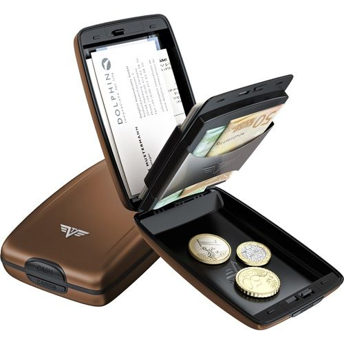 TRU VIRTU Aluminum Wallet Oyster Cash & Cards - Coffee
