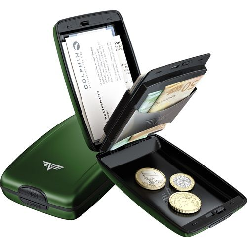 TRU VIRTU Aluminum Wallet Oyster Cash & Cards - Green