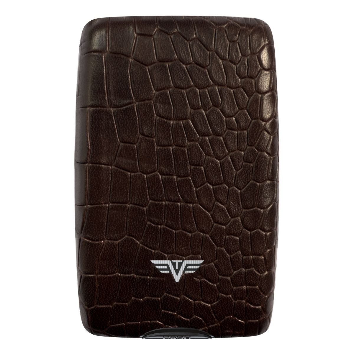 TRU VIRTU Aluminum Wallet Oyster Cash & Cards - Leather Line - Corco Brown