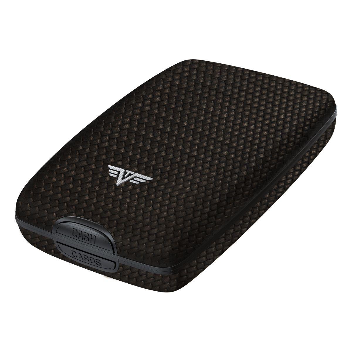 TRU VIRTU Aluminum Wallet Oyster Cash & Cards - Leather Line - Carbon Black