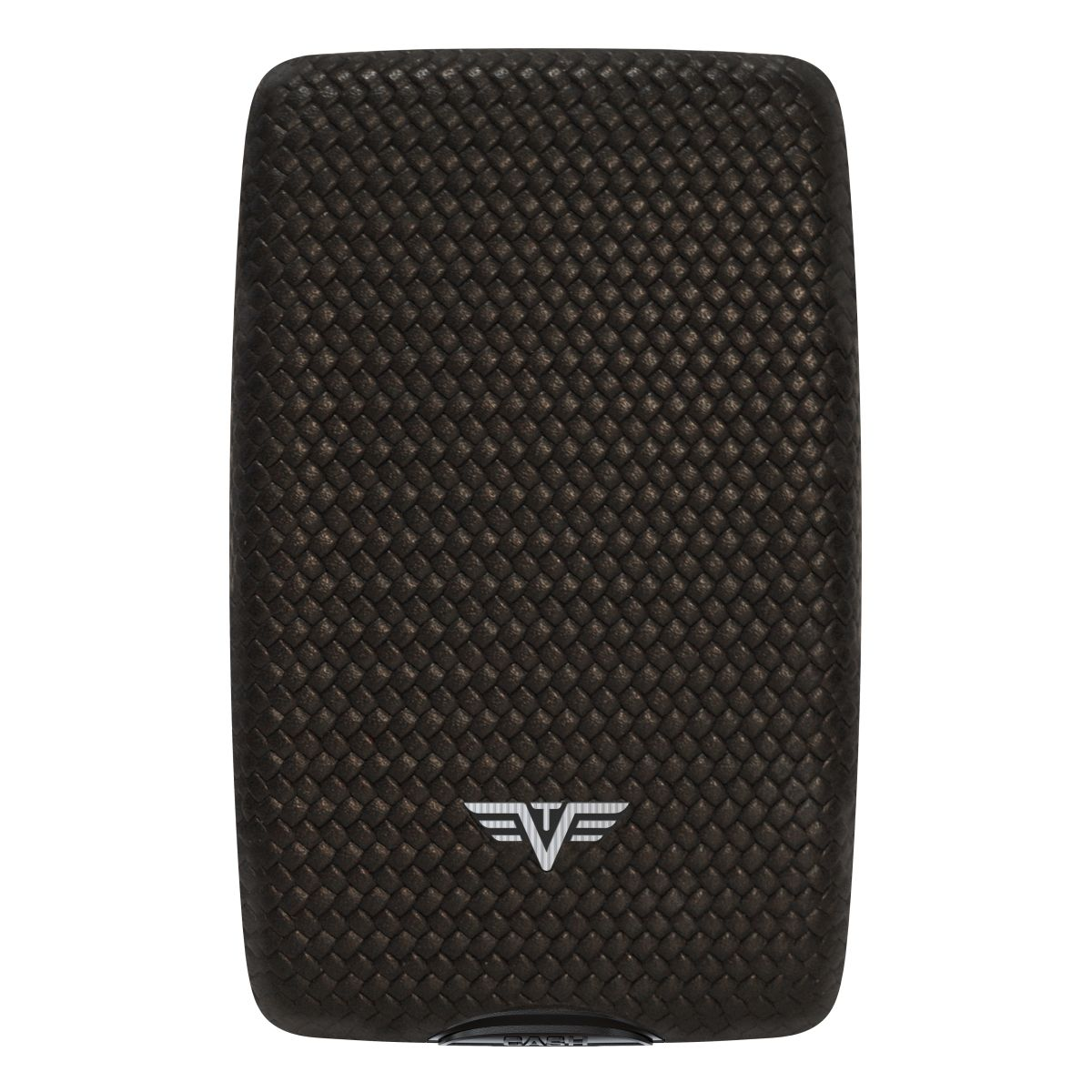 TRU VIRTU Aluminum Wallet Oyster Cash & Cards - Leather Line - Diagonal Carbon Black
