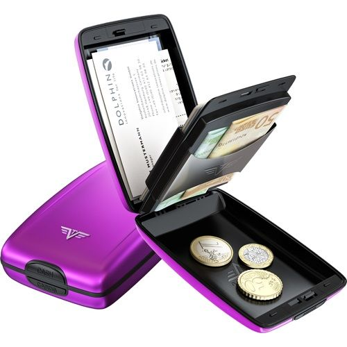 TRU VIRTU Aluminum Wallet Oyster Cash & Cards - Purple