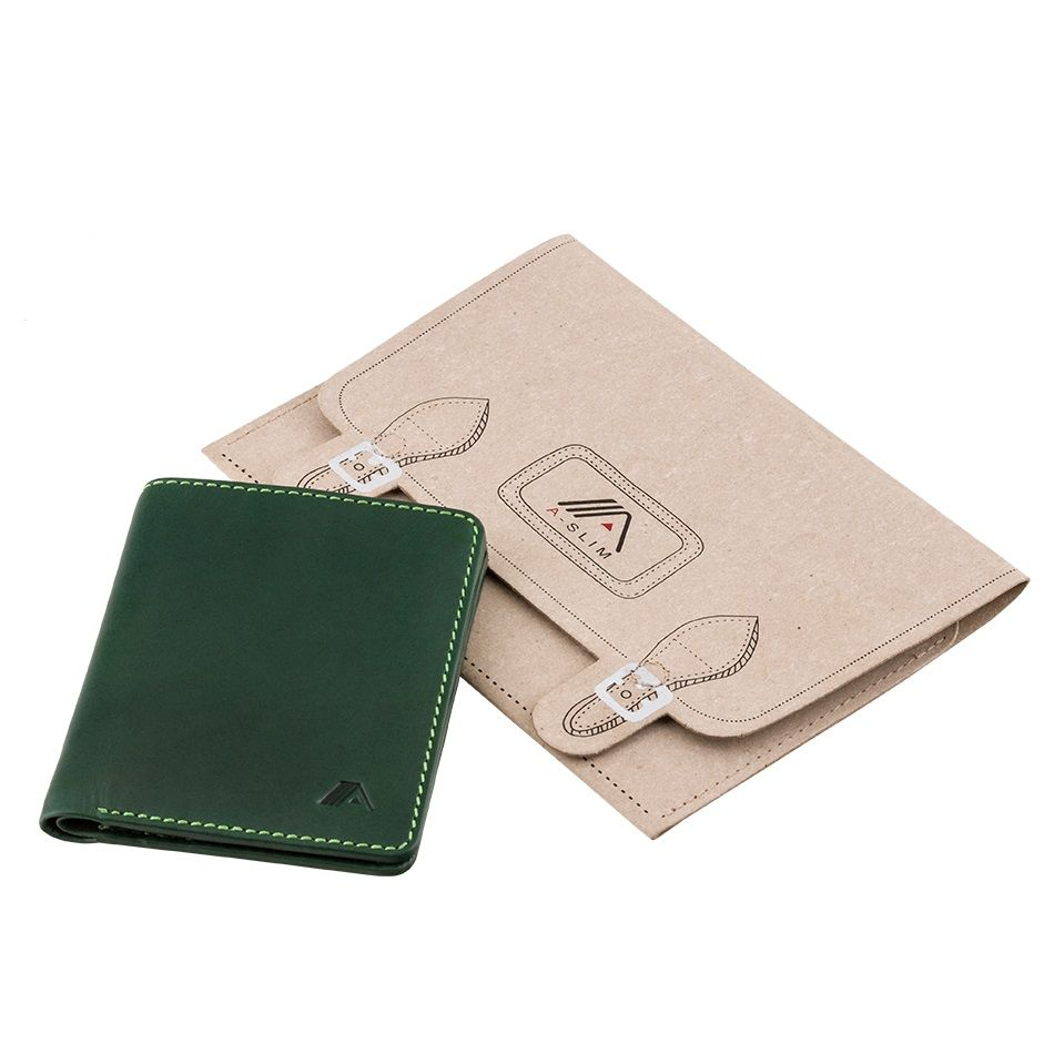 A-SLIM Leather Wallet Chikara - Green