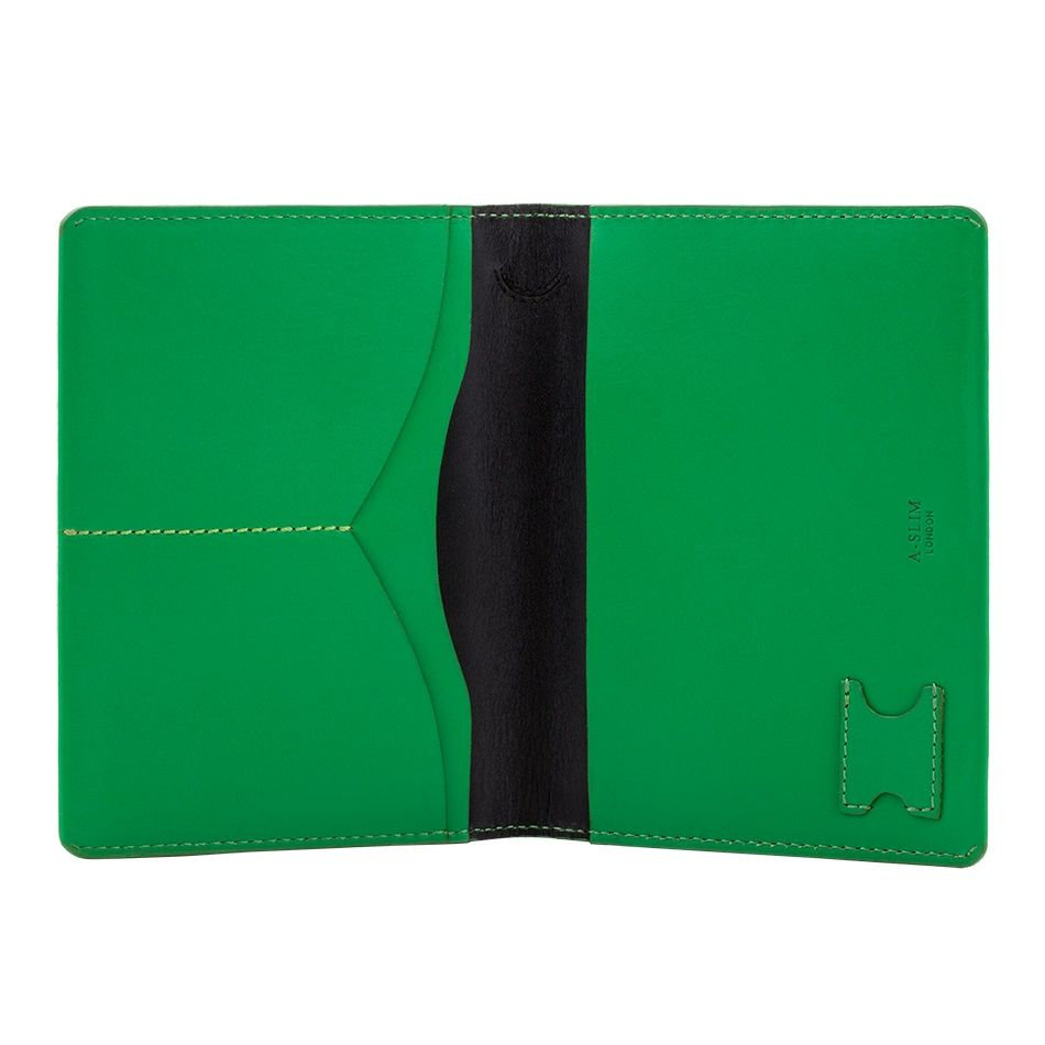 A-SLIM Leather Passport Holder Hoshi - Green