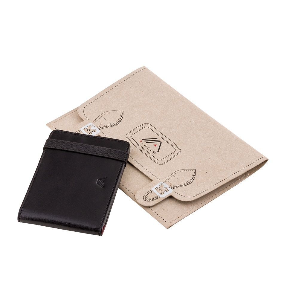 A-SLIM Leather Wallet Kihaku - Black