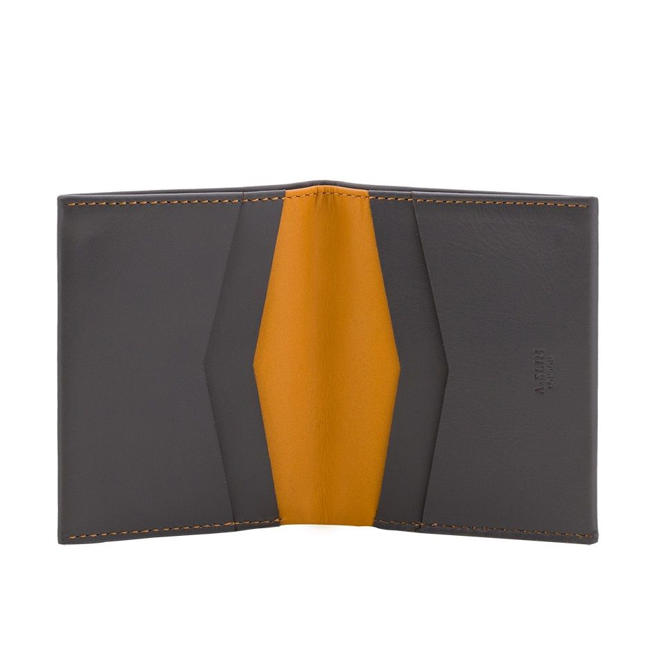 A-SLIM Leather Wallet Machete - Grey/Yellow