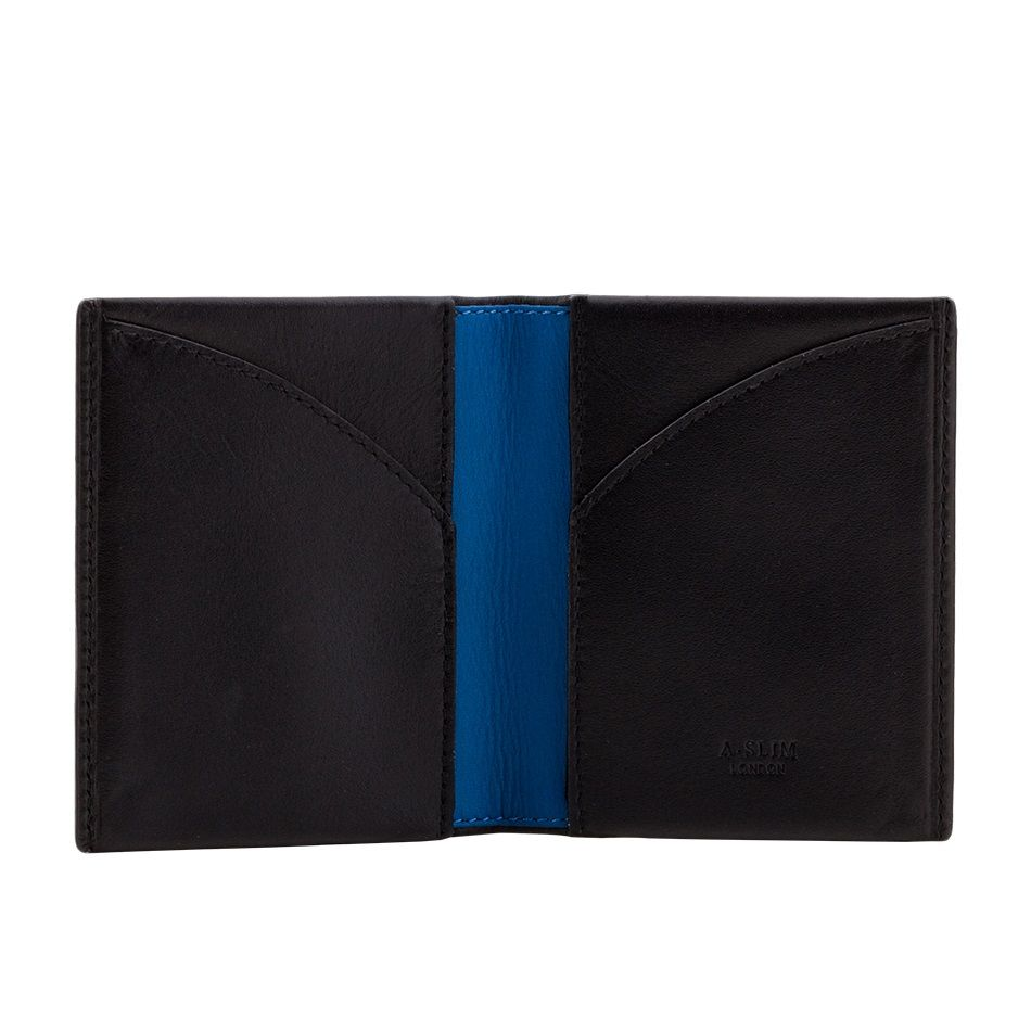 A-SLIM Leather Wallet Origami - Black/Blue