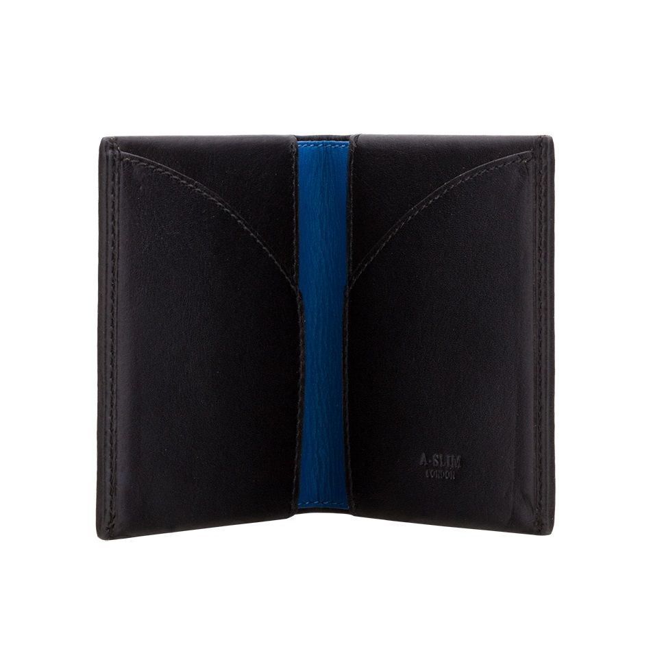 8fd410a148a4 A-SLIM Leather Wallet Origami - Black Blue