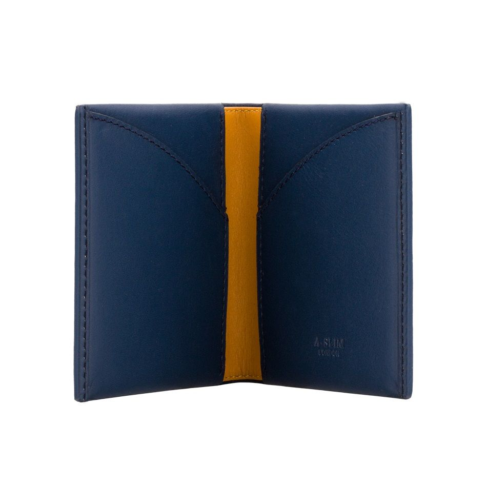 A-SLIM Leather Wallet Origami - Blue/Yellow