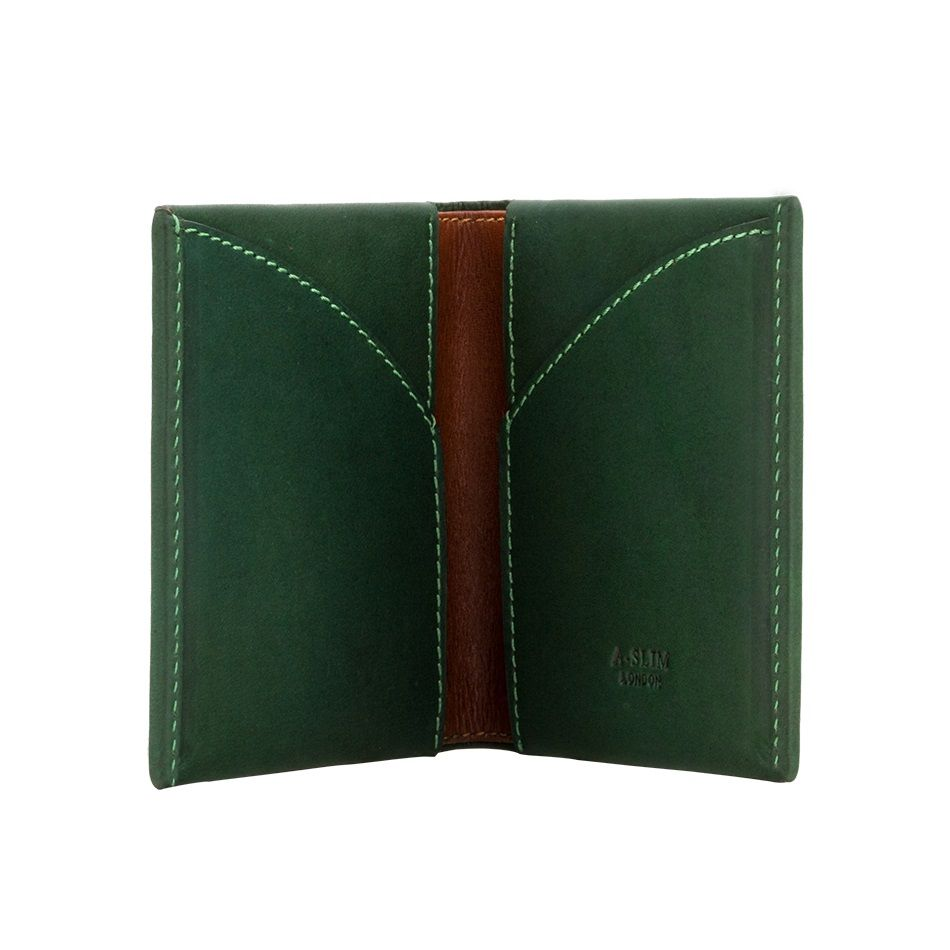 A-SLIM Leather Wallet Origami - Green