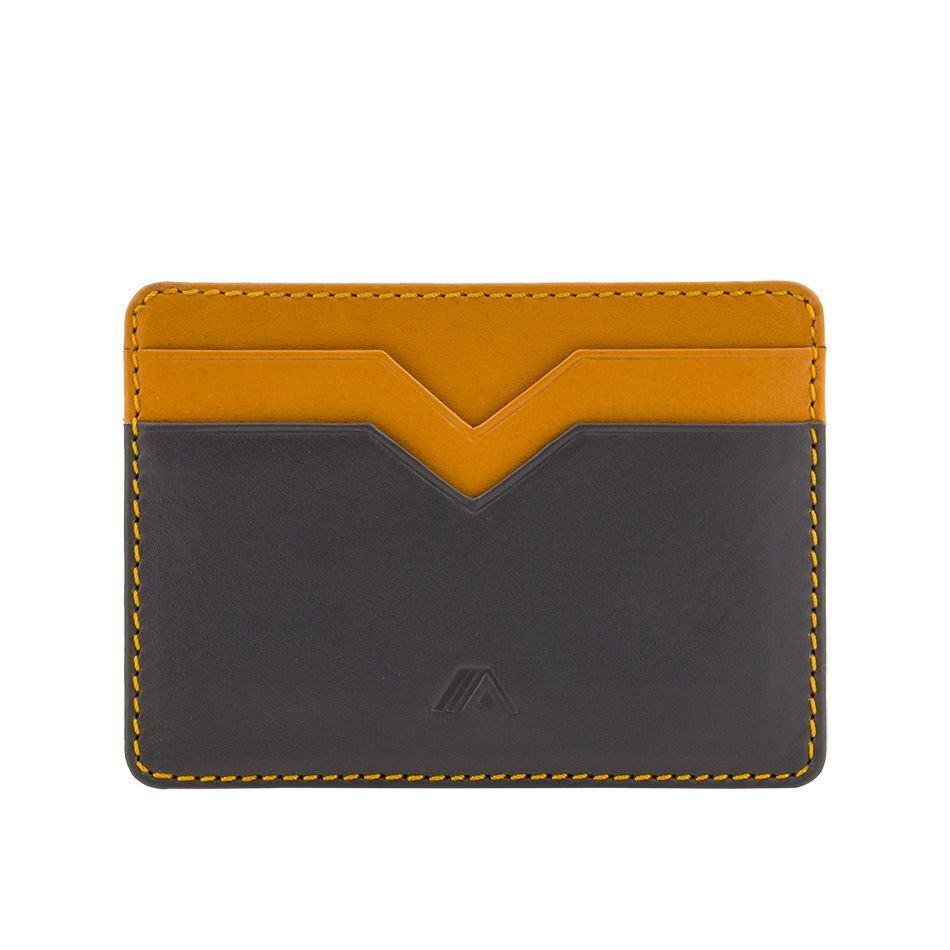 A-SLIM Minimalist Leather Wallet Yaiba - Grey/Yellow