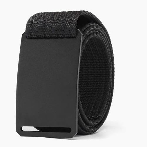 WALLET Canvas Flat Buckle Belt - Black