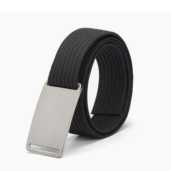 WALLET Canvas Flat Buckle Belt - Black/Silver