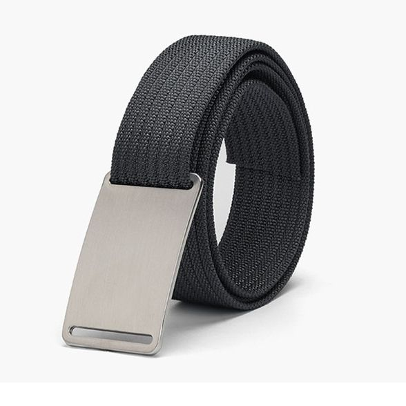 WALLET Canvas Flat Buckle Belt - Grey/Silver