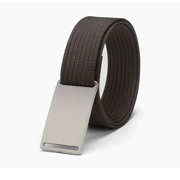 WALLET Canvas Flat Buckle Belt - Brown/Silver
