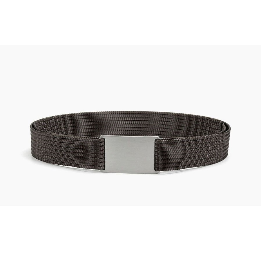 WALLET Canvas Flat Buckle Belt - Brown/Silver