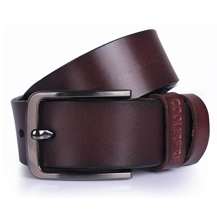 COOLERFIRE Mens Genuine Italian Leather Belt - Dark Brown