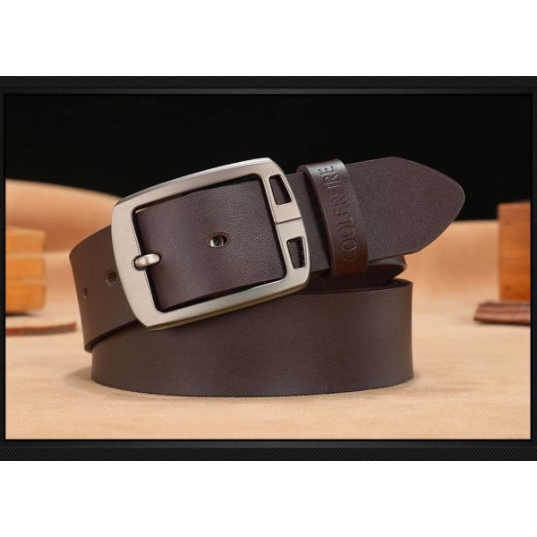 COOLERFIRE Mens Genuine Italian Leather Belt - Dark Brown