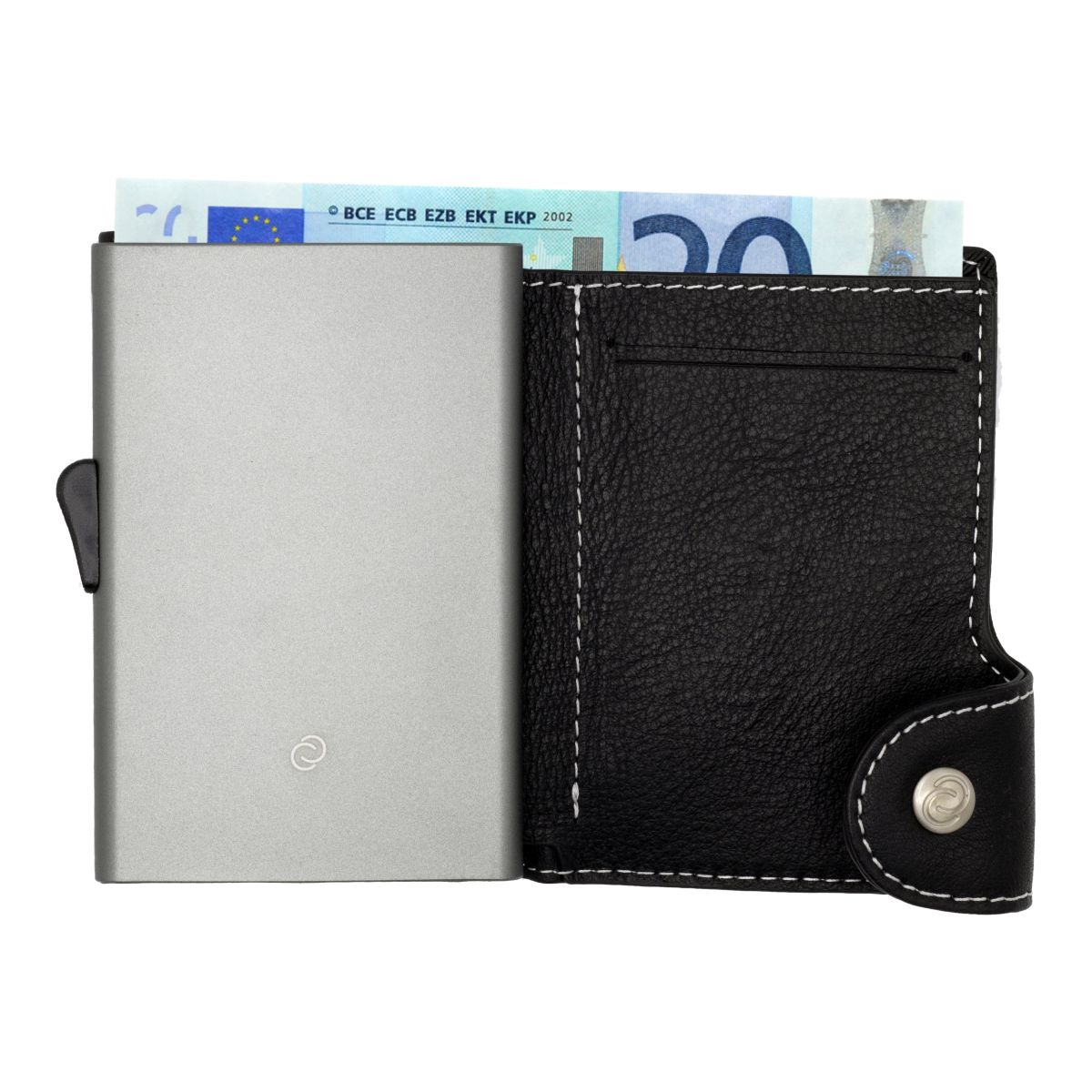 C-Secure Aluminum Card Holder with Genuine Leather - Black / Titanium