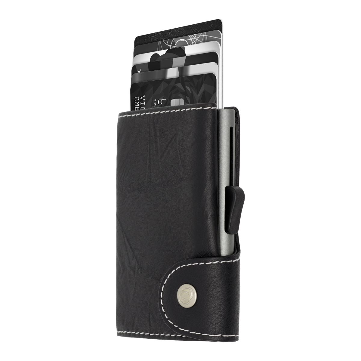 Aluminum Card Holder with Genuine Leather - Black / Titanium