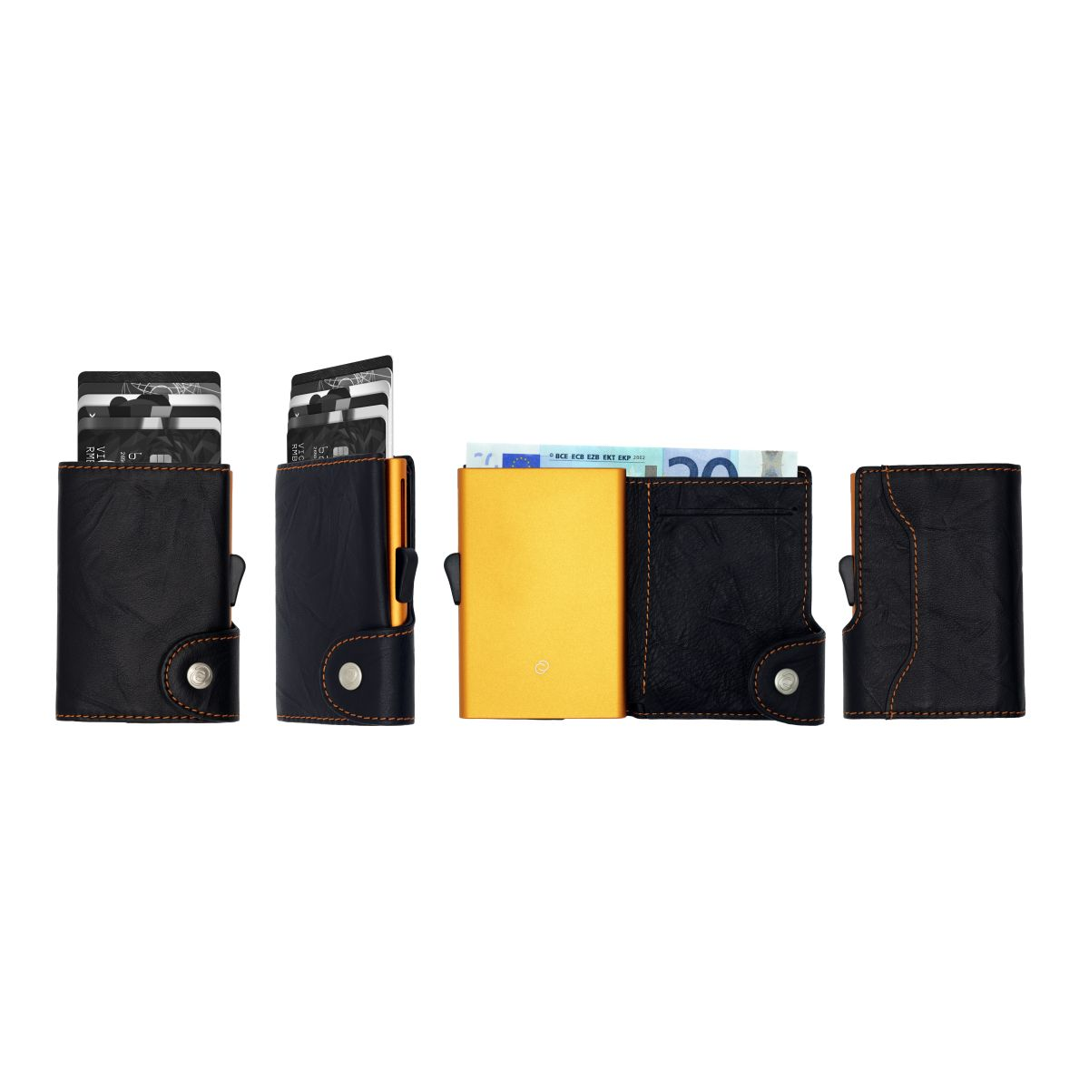 C-Secure Aluminum Card Holder with Genuine Leather - Black / Orange