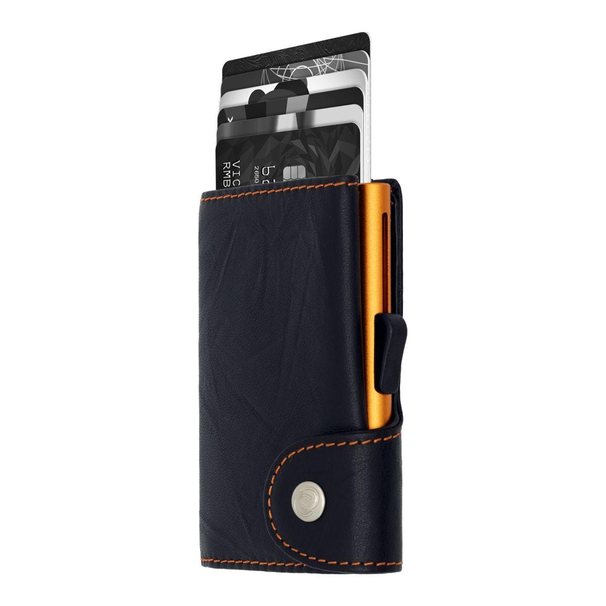 Aluminum Card Holder with Genuine Leather - Black / Orange