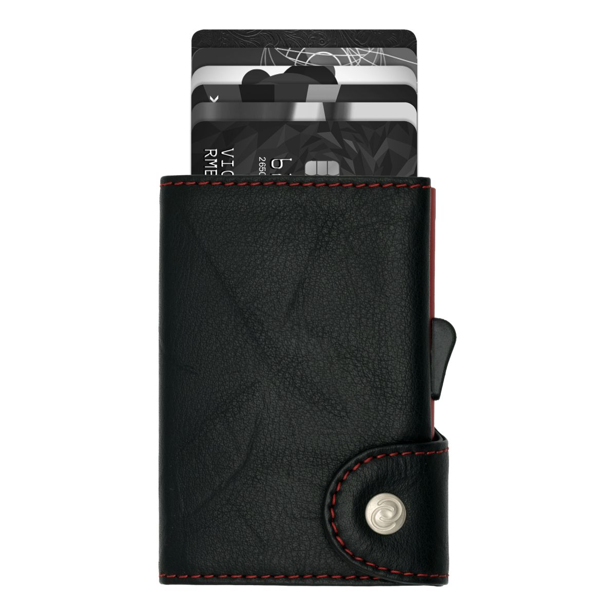 C-Secure Aluminum Card Holder with Genuine Leather - Black / Red