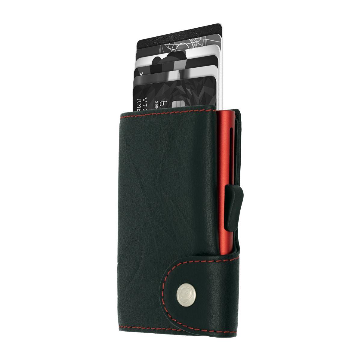 C-Secure ארנק אלומיניום בשילוב עור - שחור \ אדום