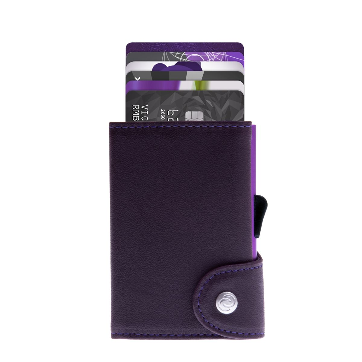 C-Secure Aluminum Card Holder with Genuine Leather - Purple