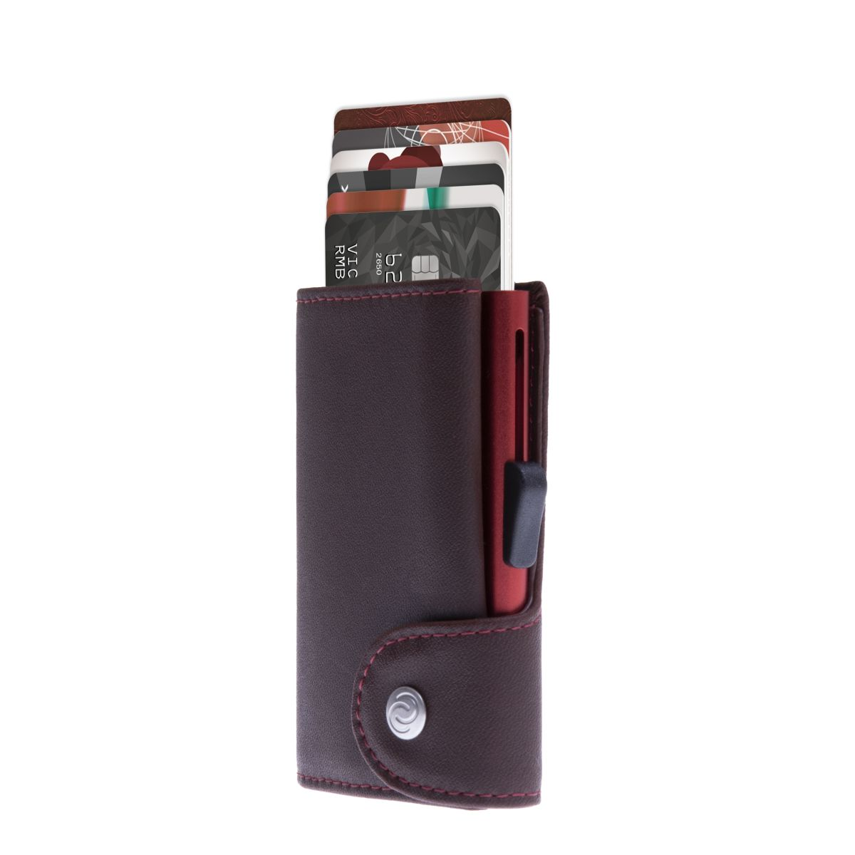 C-Secure Aluminum Card Holder with Genuine Leather and Coin Pouch - Auburn Brown
