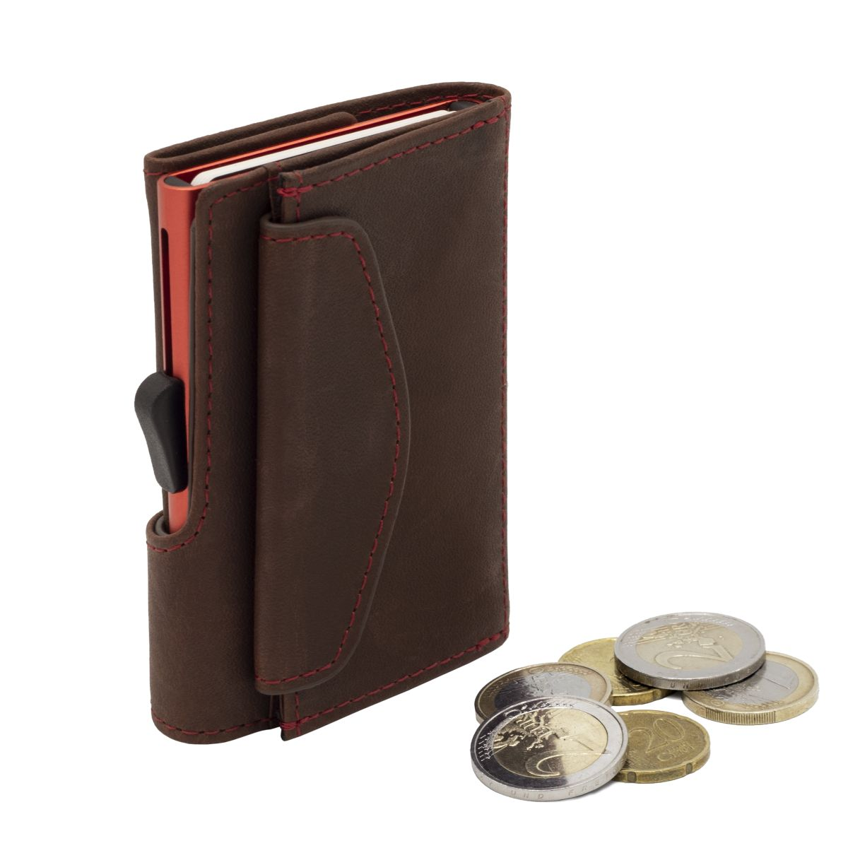 Aluminum Card Holder with Genuine Leather and Coin Pouch - Auburn Brown