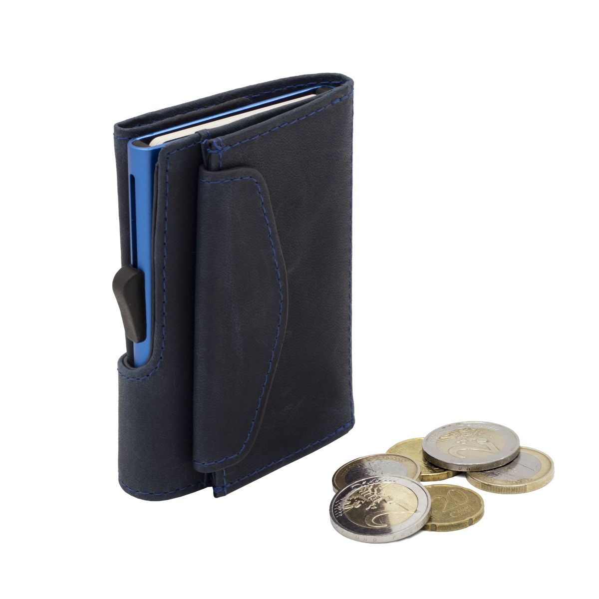 Aluminum Card Holder with Genuine Leather and Coin Pouch - Naval Blue