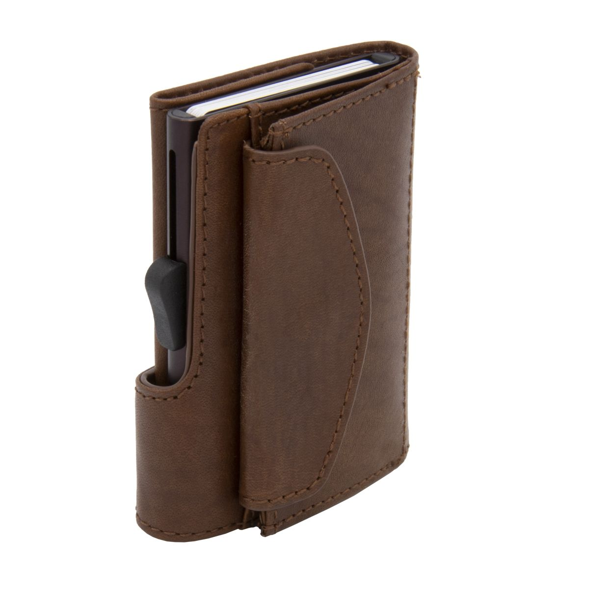 Aluminum Card Holder with Genuine Leather and Coin Pouch - Brown