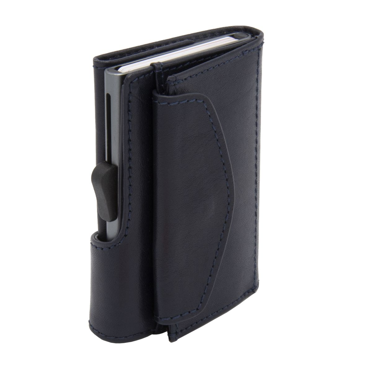Aluminum Card Holder with Genuine Leather and Coin Pouch - Blue Montana