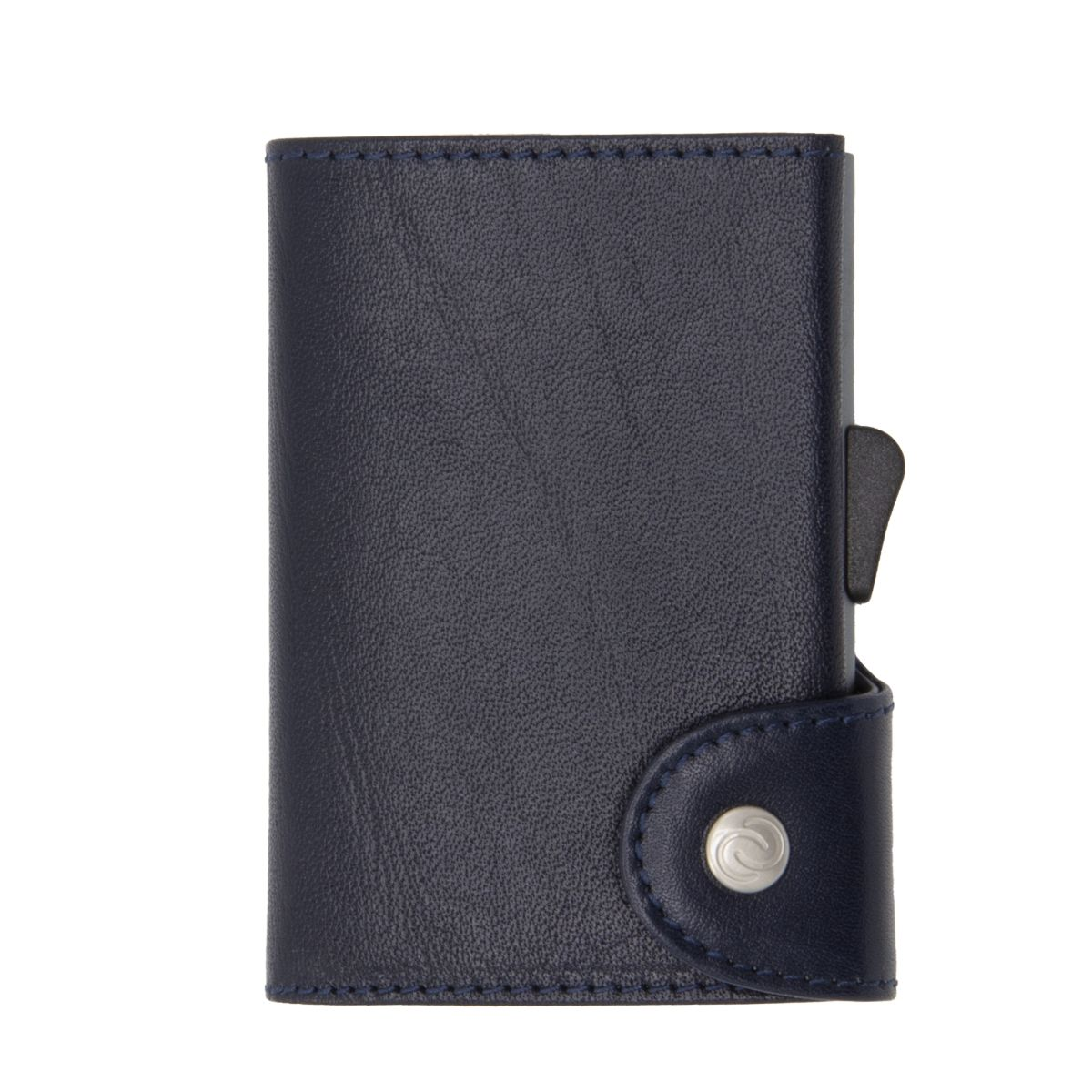 C-Secure Aluminum Card Holder with Genuine Leather - Blue Montana
