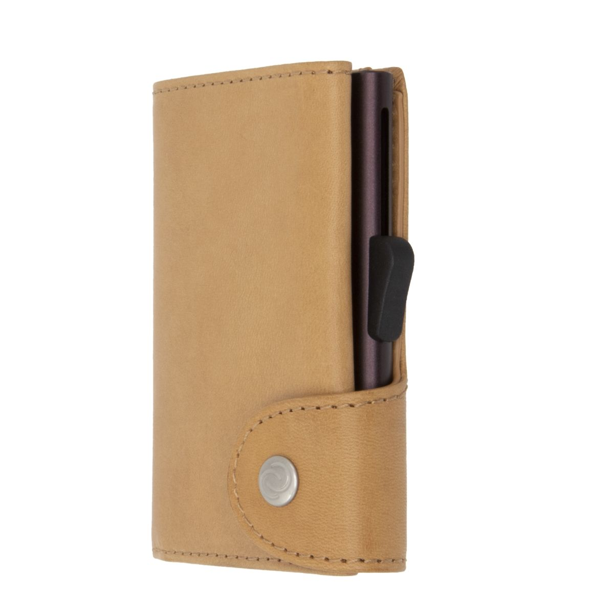 C-Secure Aluminum Card Holder with Genuine Leather - Saddle
